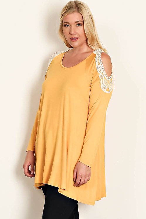 Plus Size-Mustard Lace Crochet Trim Top