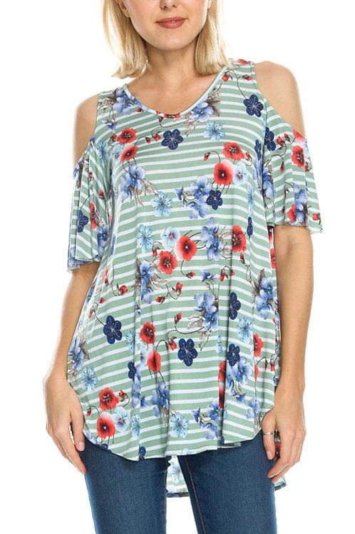 Cold Shoulder-Sage, Floral Print & Striped Tunic