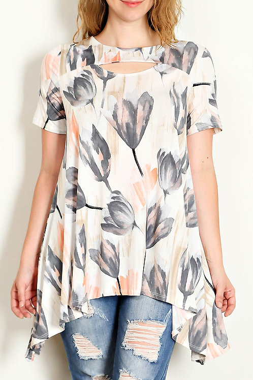 Plus Size Grey Water Color Floral Print Top