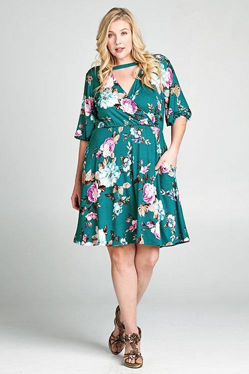Plus Size Teal -Floral Print Faux Wrap Dress
