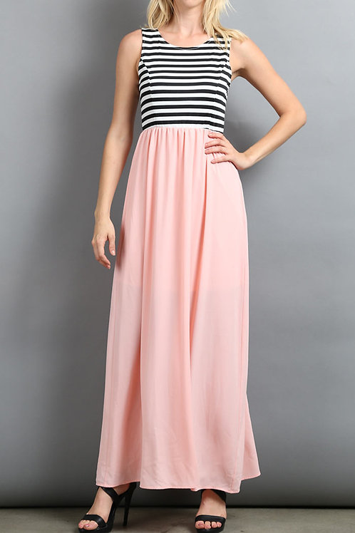 Peach /Stripe Jersey Knit Maxi