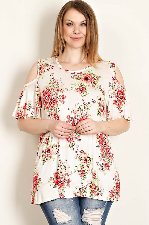 Plus Size White Floral Cold Sholder Jersey Top