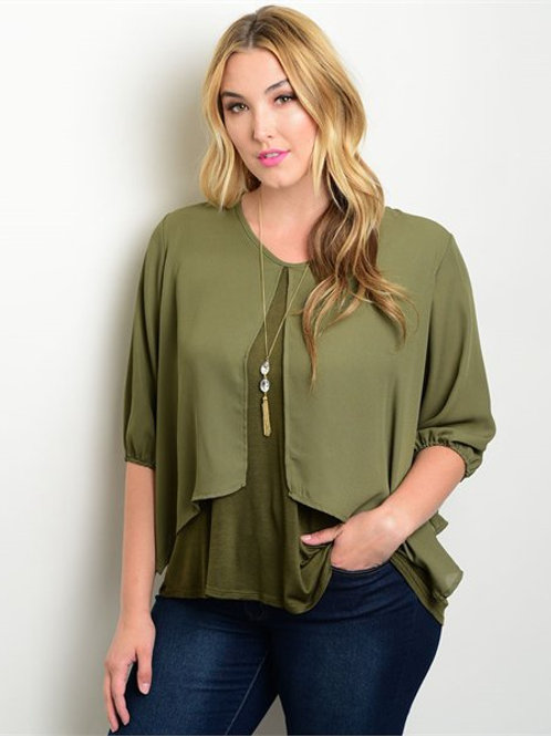 Olive Green Plus Size Top