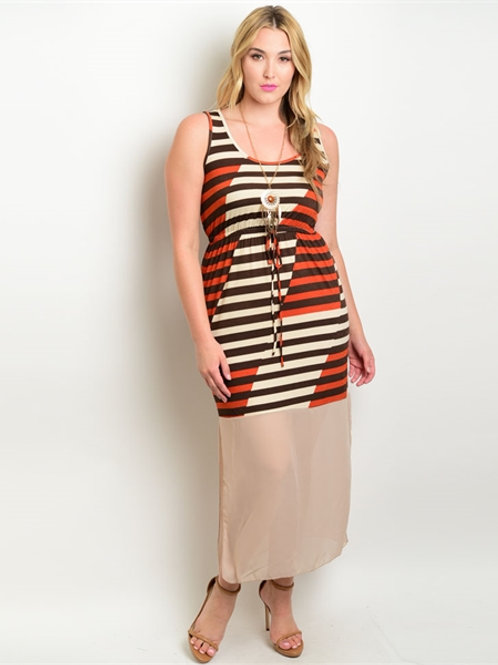 Striped Maxi Dress Plus Size