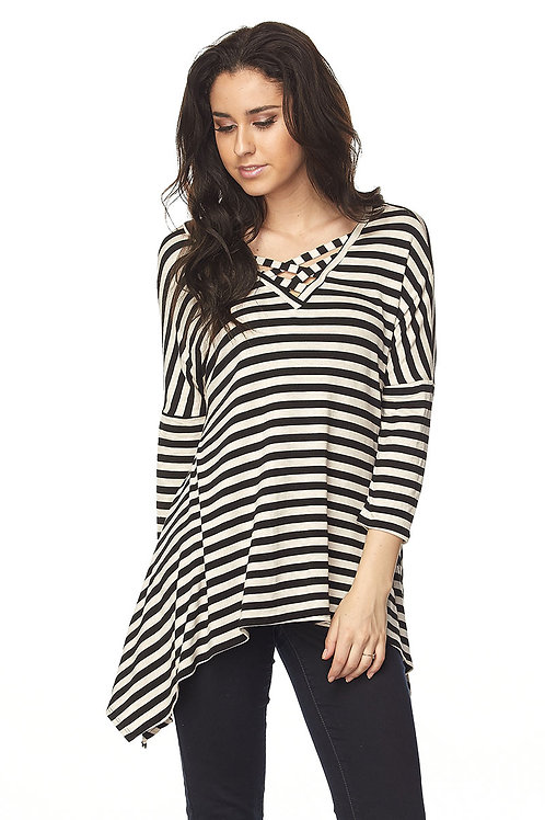Black/Oatmeal Stripe Tunic