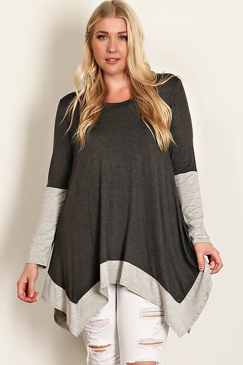 Charcoal Plus Size Jersey Knit Top