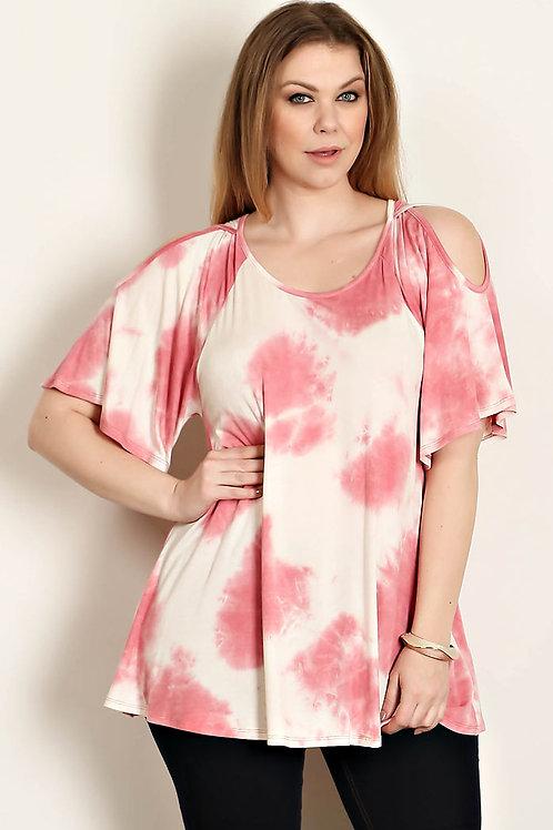Ivory/Pink Plus Size Tie Dye Tunic