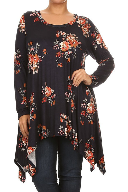 Plus Size Navy Floral Tunic
