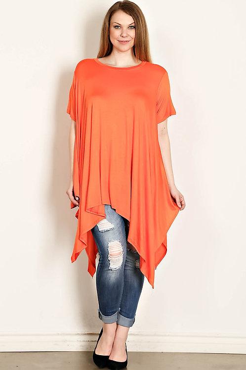 Orange Plus Size Solid Knit Jersey Tunic