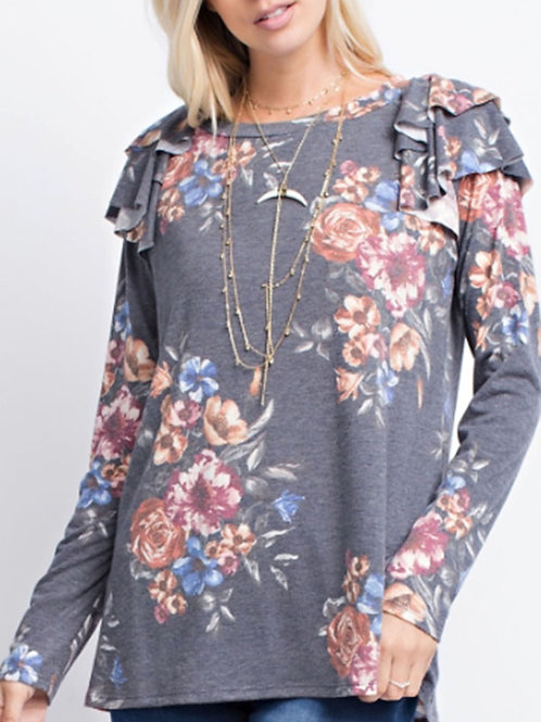 Navy Floral Print Ruffle Overlay Top