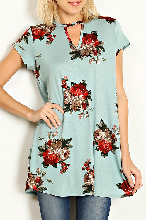 Sage-Floral Knit Tunic