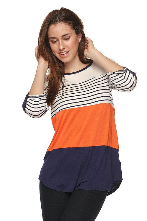 Stripe Roll Tab Sleeve Tunic