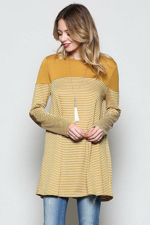 Mustard Solid & Striped Top with Patched Elbows
