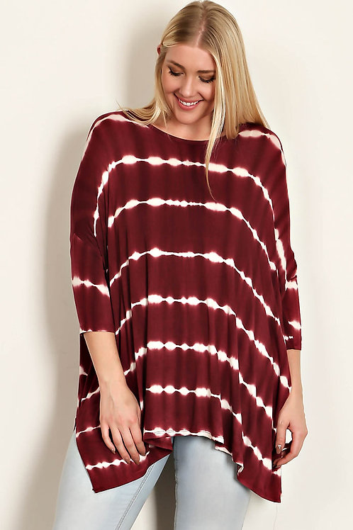 Burgundy Tie Dye Tunic-Plus Size