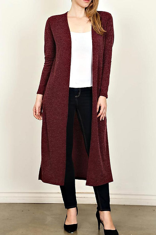 Plus Size Burgandy Side Slit,Elbow Patch Cardigan