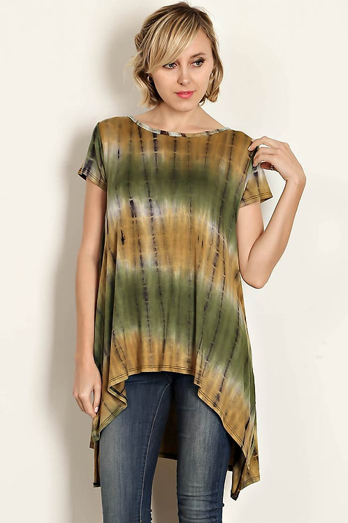 Green Bamboo Tie Dyed Jersey Knit Top