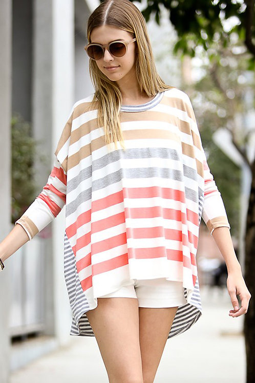Multi Stripe Dolman Sleeve Top