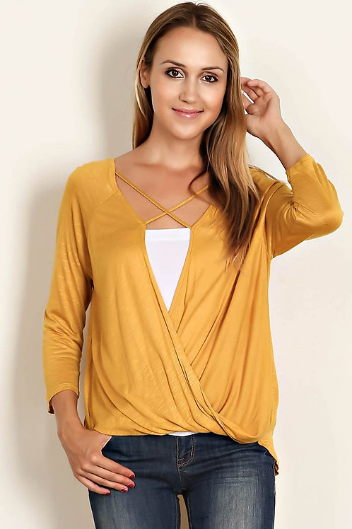Mustard Color Knit Wrap Bodice Top