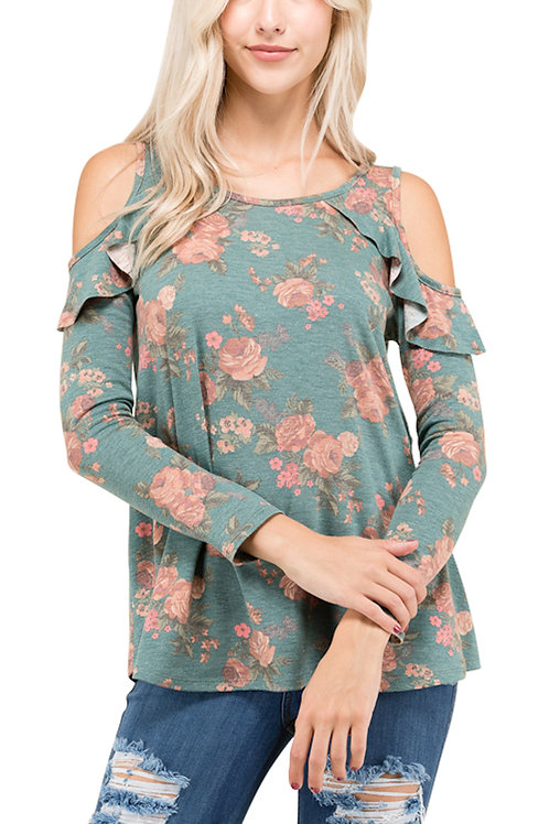 Green Long Sleeve Floral Print Top