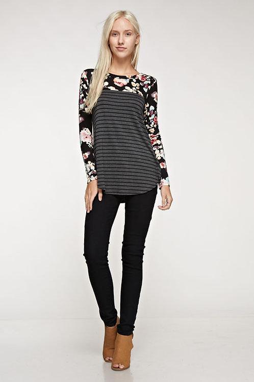 Black Floral Stripe Jersey Top