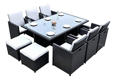 AGUSTINE 9-PCS OUTDOOR DINING SET IN BLACK WICKER