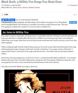ThyBlackMan: Black Rock: 5 MilitiA Vox Songs You Must Hear