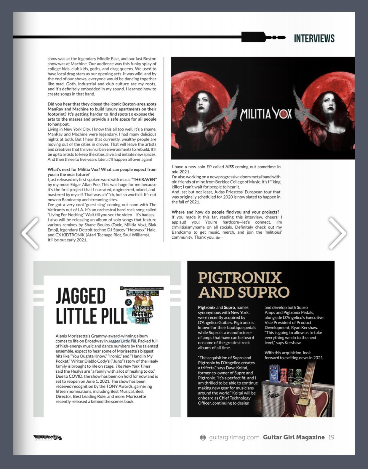 Militia Vox in GuitarGirl Mag 3