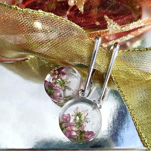 Серебряные серьги с вереском двух цветов , арт. 02-1706-29