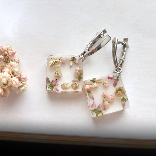 Cеребряные серьги с цветочными кубиками