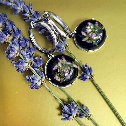 Серебряные серьги-конго с розовым вереском, арт. 12-2310-29