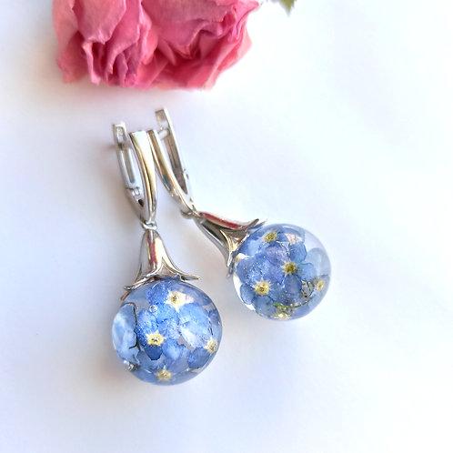 Серебряные серьги-колокольчики с незабудками