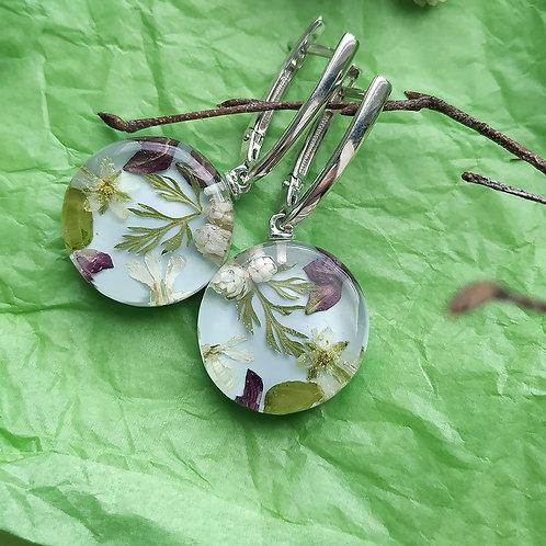 Серебряная классика серег с цветочной композицией,арт. 42-2406-00