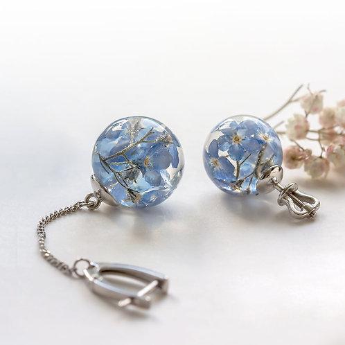 Серебряные асимметричные серьги с незабудками, арт. 02-1200-06