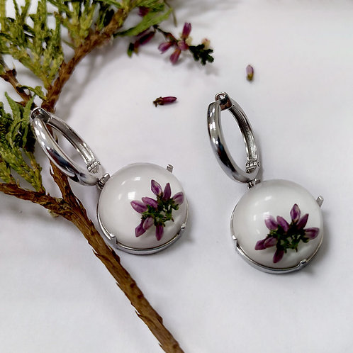Серебряные серьги-конго с розовым вереском, арт. 22-2310-29