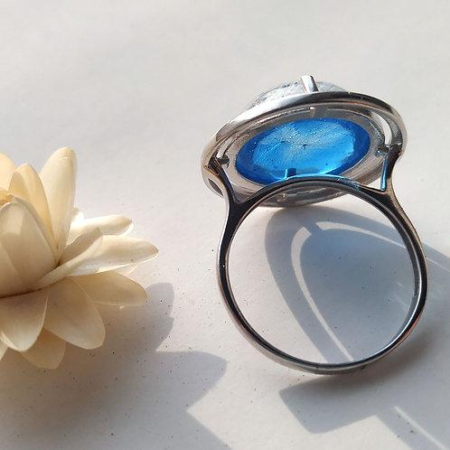 Серебряное кольцо с пушинками на голубом, арт. 41-0310-26