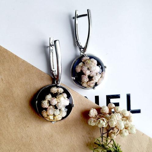 Серебряные серьги с нежно-розовым озотамнусом, арт. 12-0910-01