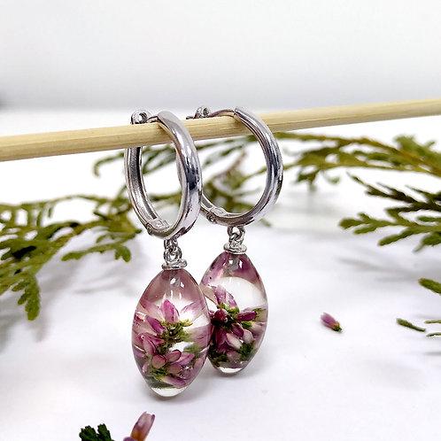 Серебряные серьги-конго с розовым вереском, арт. 02-2111-29