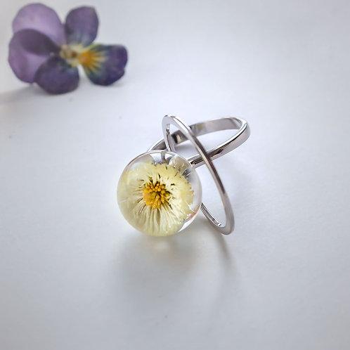 Кольцо с белой маргариткой, арт. 01-0100-13