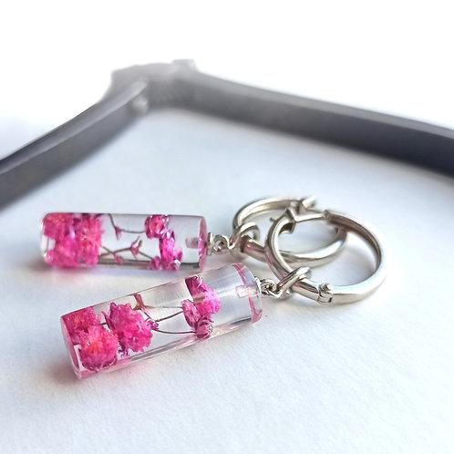 Серьги-конго со съëмными бусинами-цилиндрами, внутри pink гипсофила