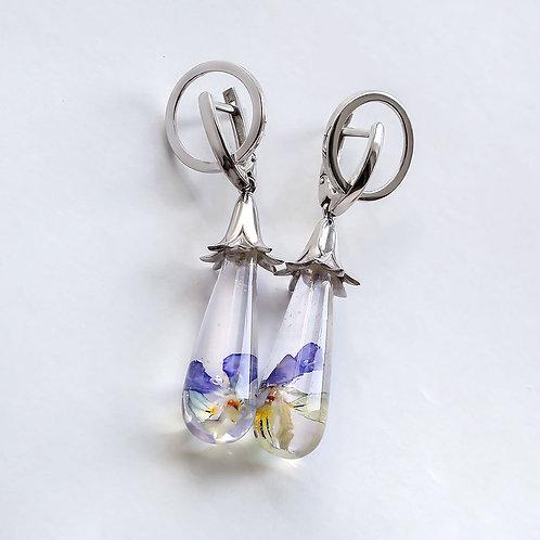 Серебряные серьги с двумя цветками полевой фиалки, арт. 02-0502-09