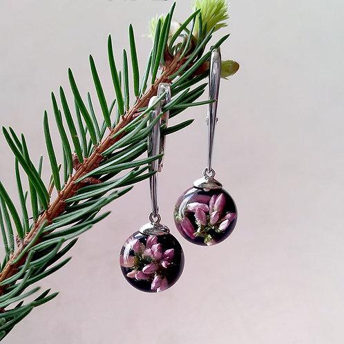 Стильные серебряные серьги с розовым вереском, арт. 12-0100-29