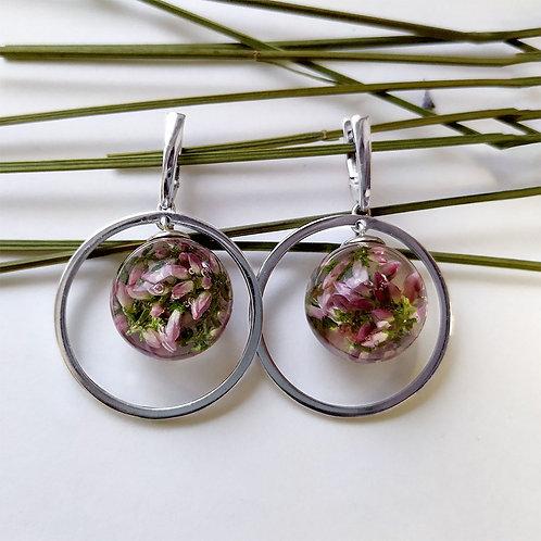 Серебряные серьги с веточками розового вереска, арт. 02-0200-29