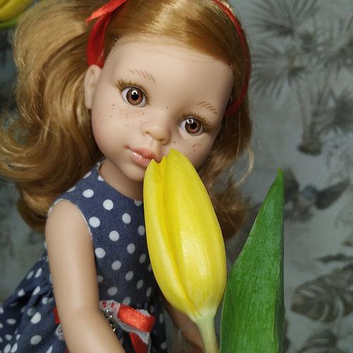 Кукла Даша с веснушками и чайного цвета глаза