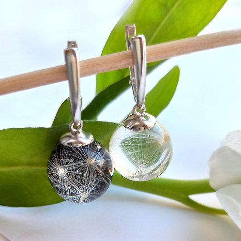 Классические серебряные серьги с пушинками Инь Ян, арт. 02-1500-26***