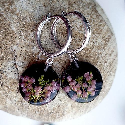 Серьги-конго с веточками лилового вереска, арт. 12-2207-29