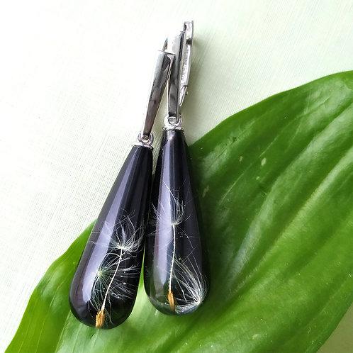 Серьги с пушинками одуванчика на черном, арт. 12-1102-26