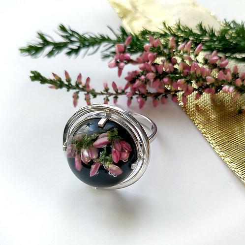 Серебряное кольцо с розовым вереском,арт. 11-0310-29