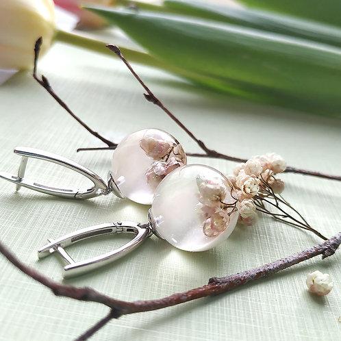 Серебряные серьги с нежно-розовым озотамнусом, арт. 22-0900-01