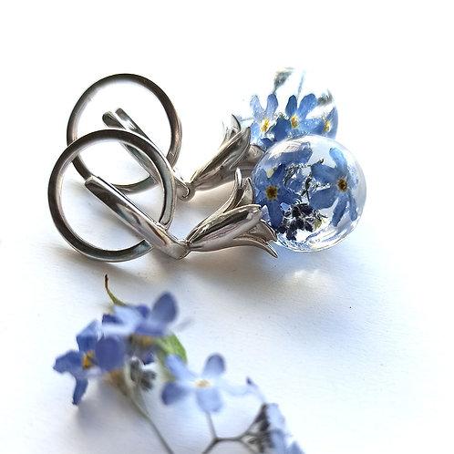 Красивые серебряные серьги с незабудками, арт. 02-0500-06