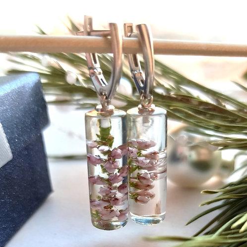 Серебряные серьги-цилиндры с веточками лесного вереска